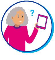 Pictogramme d'une vieille personne confrontée à une tablette numérique