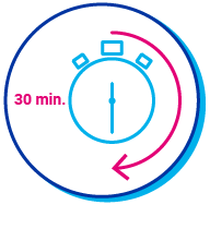 """Pictogramme d'un chronomètre avec l'indication """"30mn"""""""