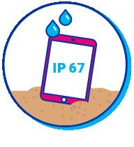 Pictogramme de l'indice IP d'une tablette mouillée