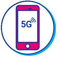 Pictogramme d'un iPhone à connexion 5G