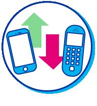 Pictogramme comparatif entre téléphones d'avant et téléphones d'aujourd'hui