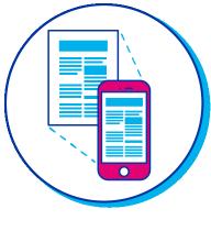 Pictogramme d'un téléphone qui scanne un document papier