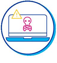 Pictogramme d'un ordinateur portable piraté