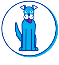 Picto chien bleu